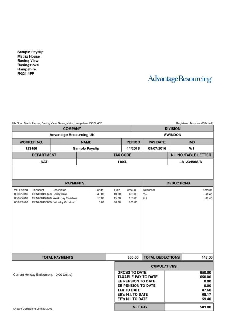 Payslip Templates 28+ Free Printable Excel & Word