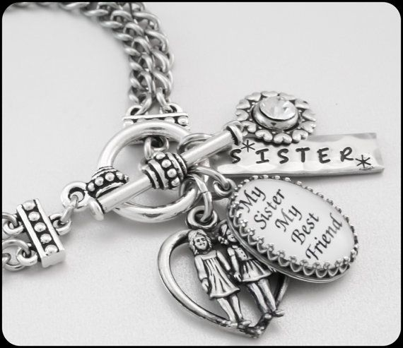 Silver Inspirational Jewelry For Sister Charm Bracelet