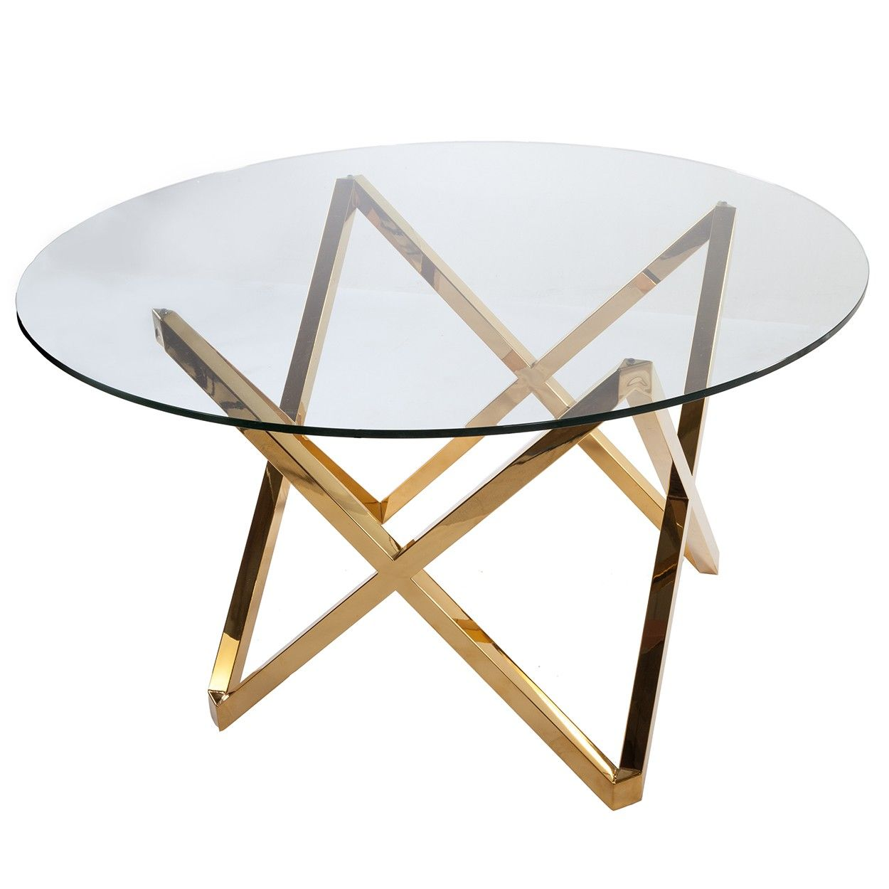 Galvin dining table gold glass round dining table for Glass dining table