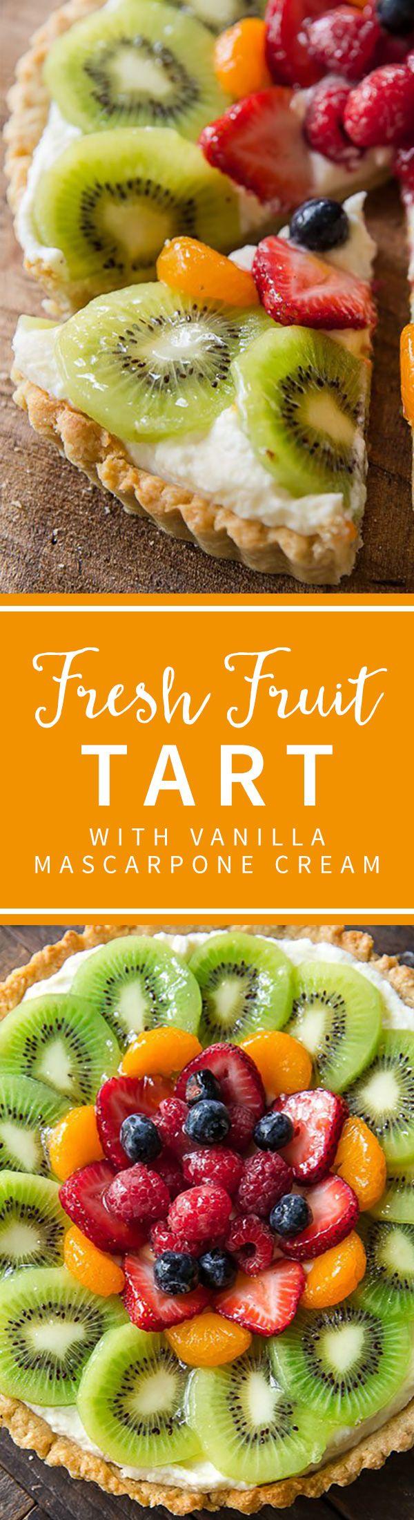 Delicious summer dessert! Fresh fruit pastry tart with mascarpone cream filling!! Recipe on sallysbakingaddiction.com