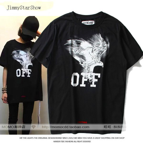 High Quality 2017 Summer Style Off Black White Light Eagle Stripe Loose Casual Tee 100% Cotton Short-sleeve T-shirt Men Top Tee