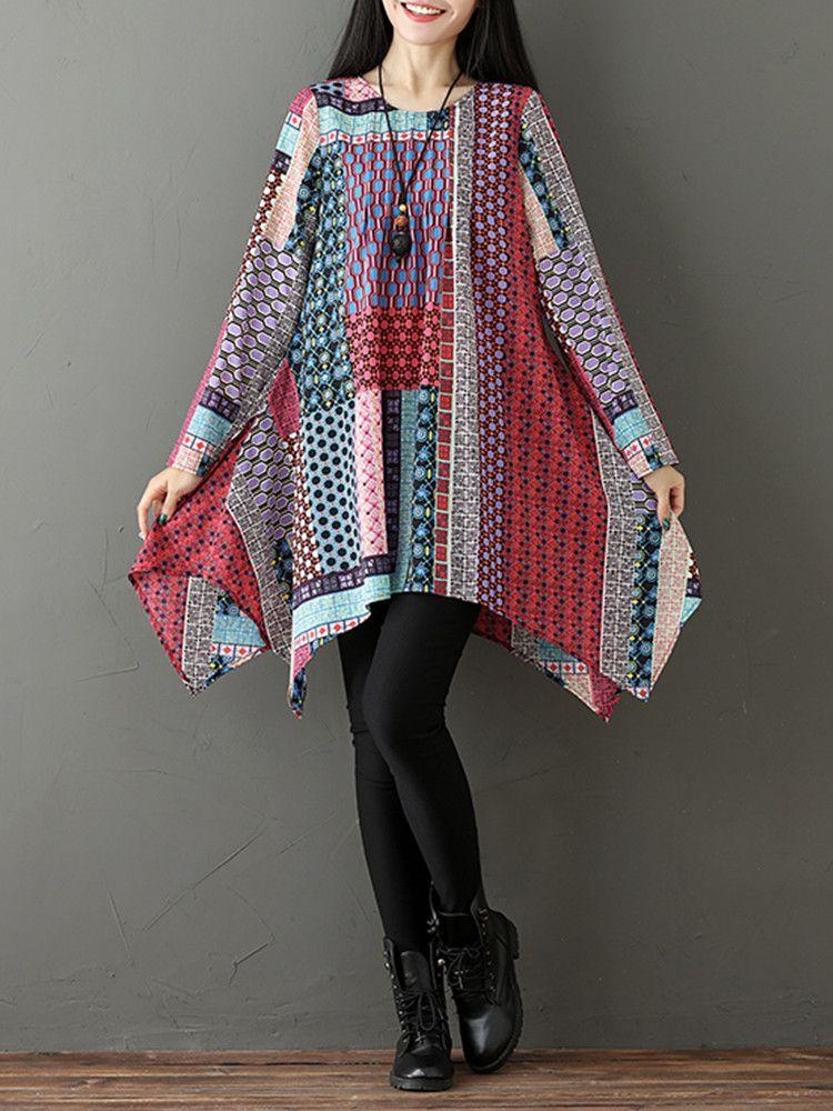 de0829bab455 Gracila Vintage Loose Printed Women Asymmetrical Casual Blouses Cheap -  NewChic
