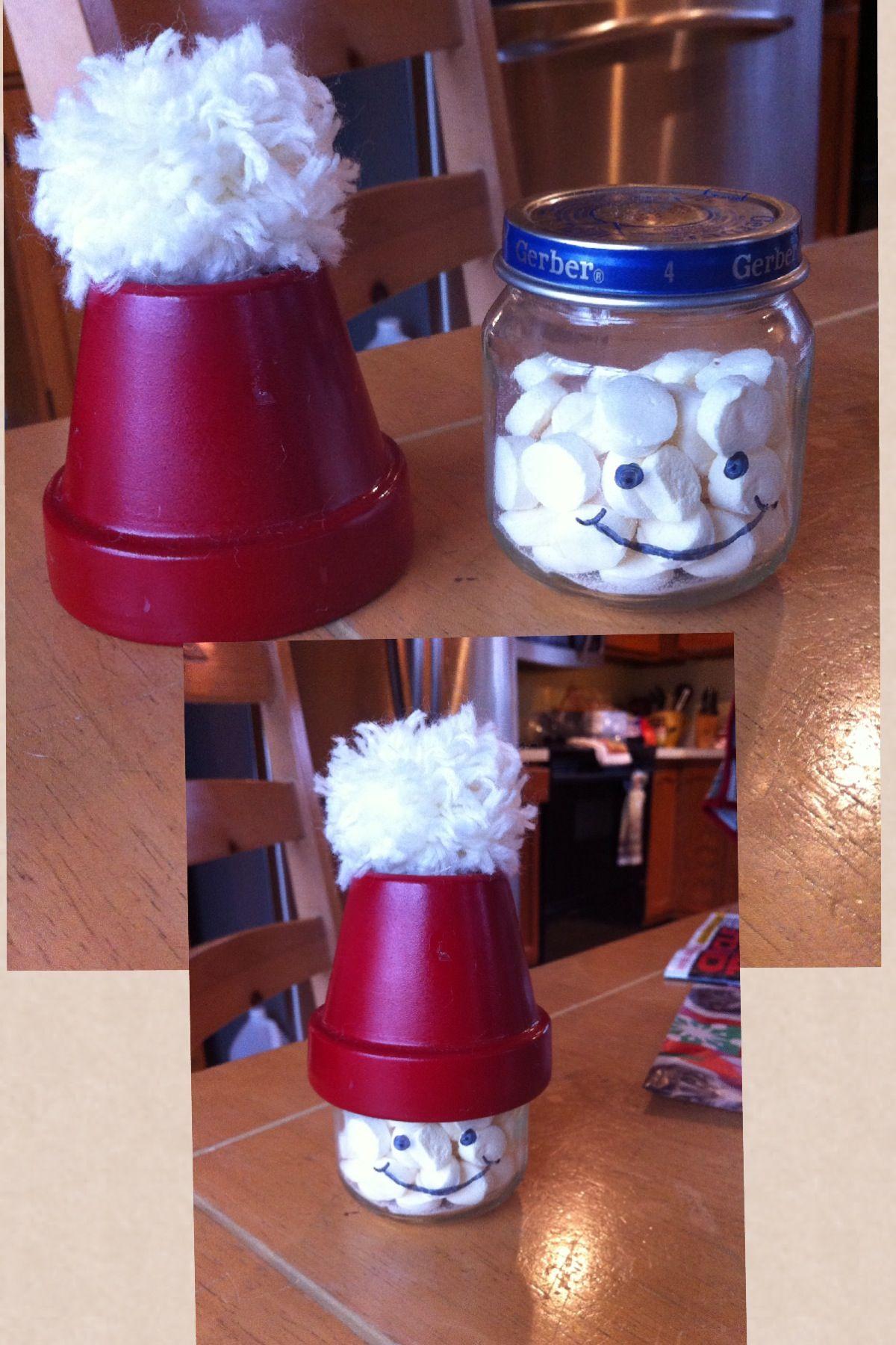 Baby Food Jar Small Flower Pot Red Spray Paint A Pompom