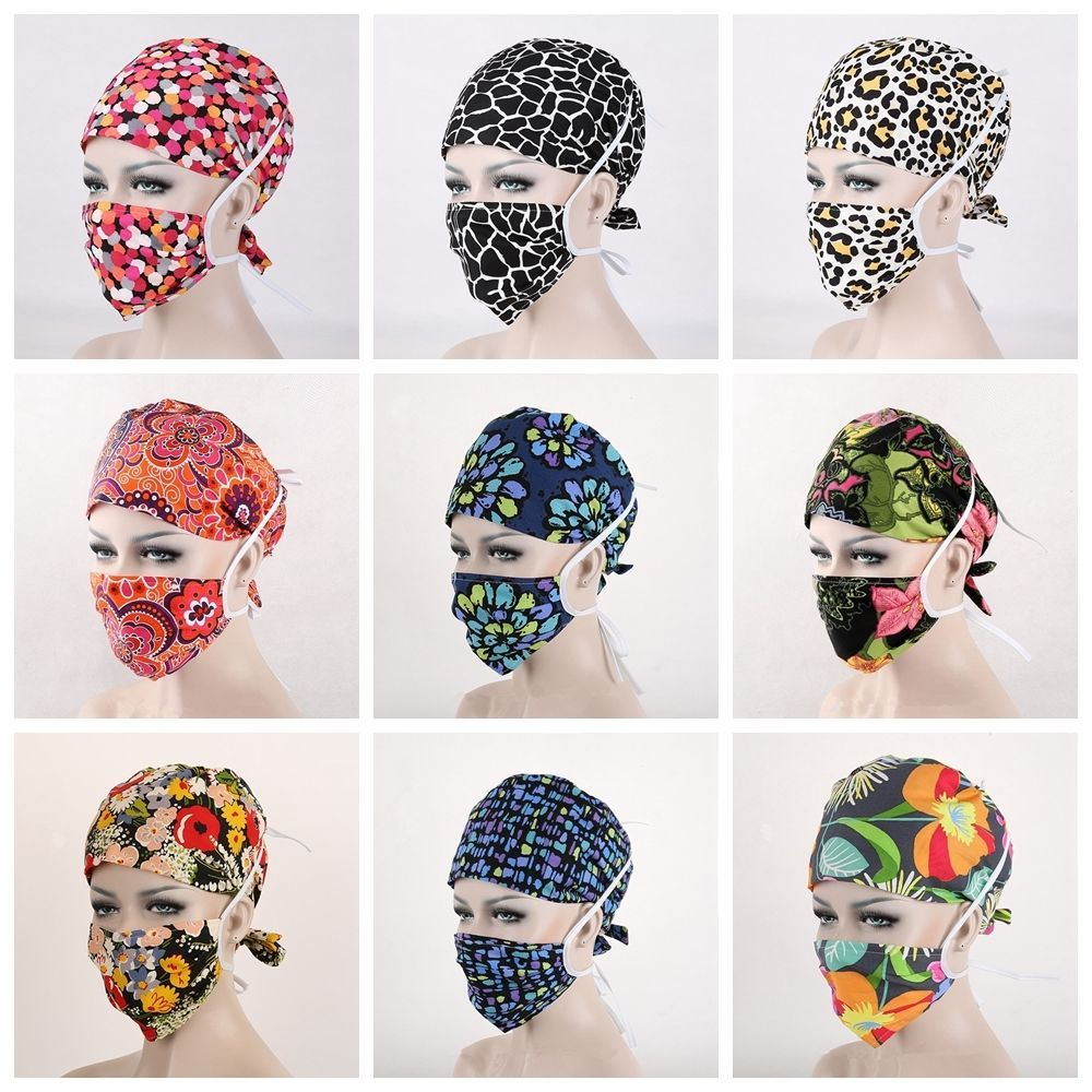 New 32 Kinds Pattern Flower Printing Scrub Cap Medical Surgical
