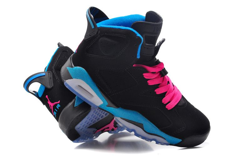 Nike Air Jordan 6 Retro Womens Shoes White Blue Pink Black