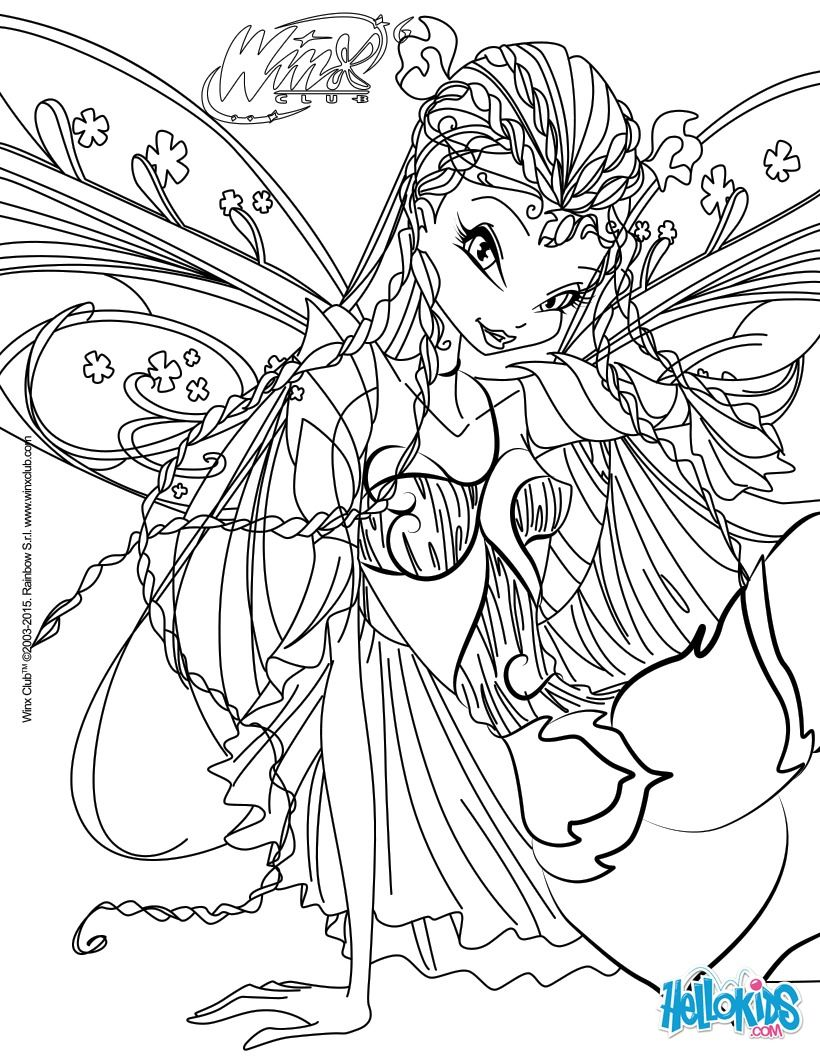 Interactive Coloring Pages For Adults : Flora transformation bloomix coloring page