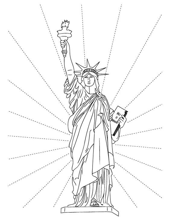 Statue of Liberty Coloring Pages LineArt Patriotic Pinterest - copy coloring pages of dance shoes