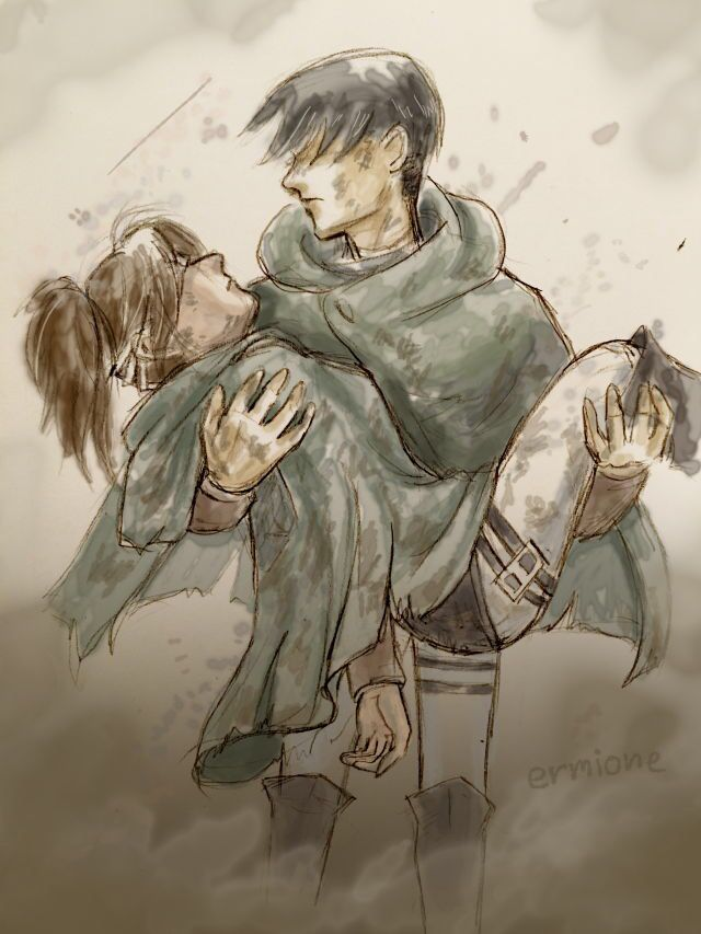 She layed there in his arms, completely unconscious. The war was finally over, titans driven out even but she suffered serious injuries from her excitement. She groaned slightly, a little blood trickling from the corner of her mouth as her face contorted into a pained expression.
