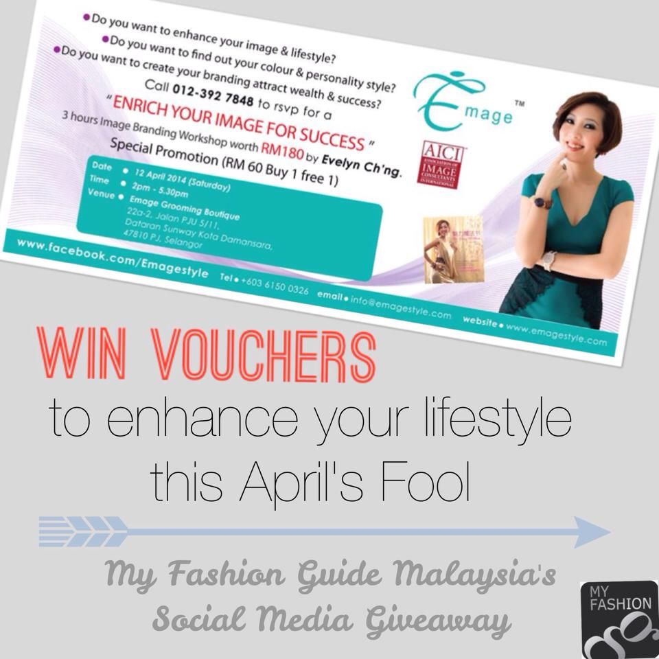 """Win these FREE vouchers to a personal branding workshop with these simple steps! 1. Download My Fashion Guide app 2. Search and click on """"NOTIFY"""" on Emage's listing! 3. Comment """"I want to get NOTIFIED by Emage!"""" on our Facebook giveaway post!  Hurry! Like us on FB now & join our weekly giveaway!   This week's giveaway ends on Sunday(6th of April), 11.59 pm"""