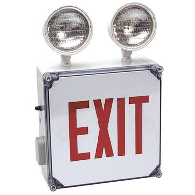 Combo Wet Location Nyc Exit 8 Red Led 2x12w Round Heads