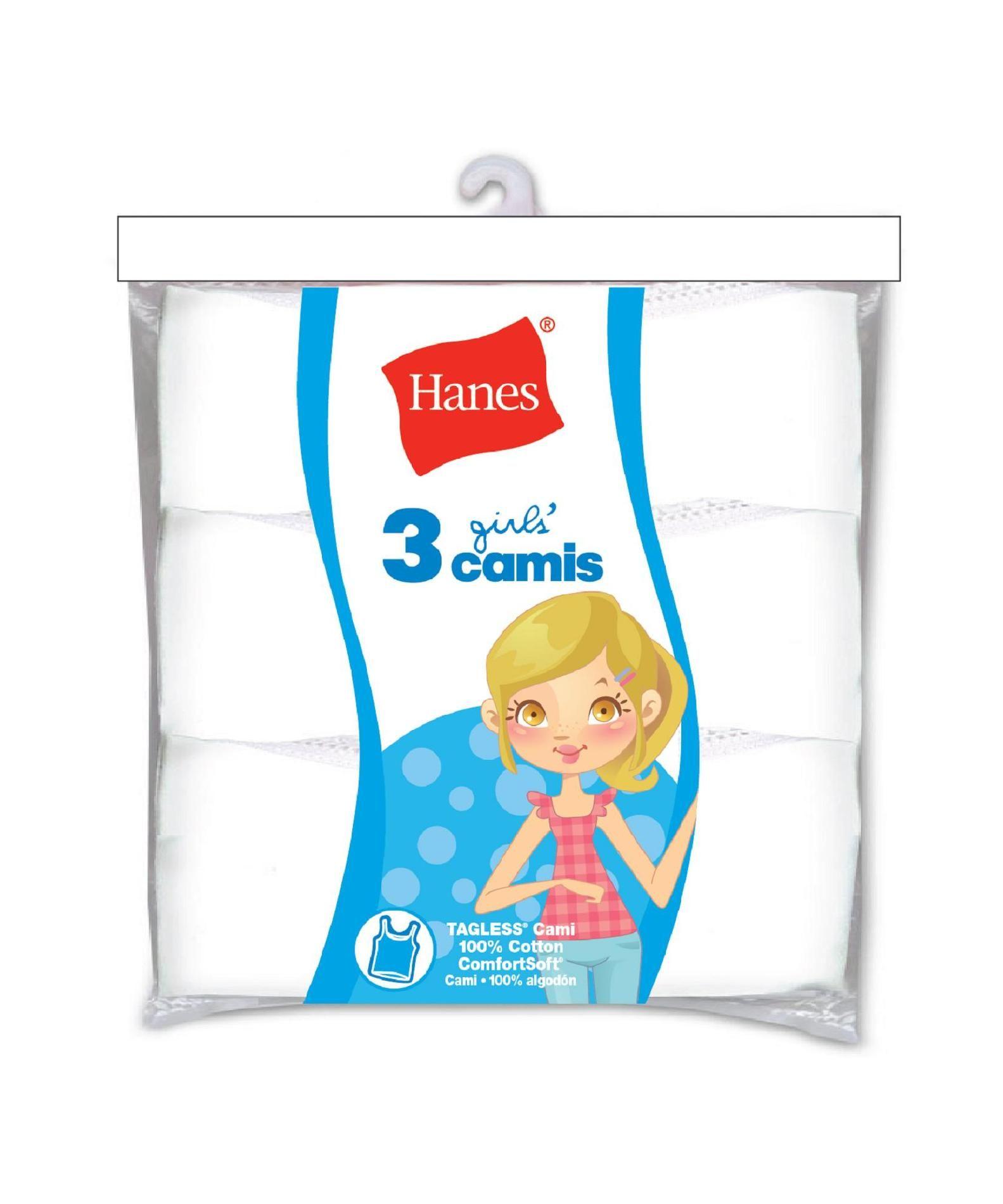 Hanes Girl's White Cami 3 Pack