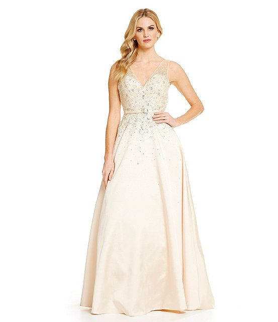 VM By Mori Lee Crystal Beaded Ball Gown