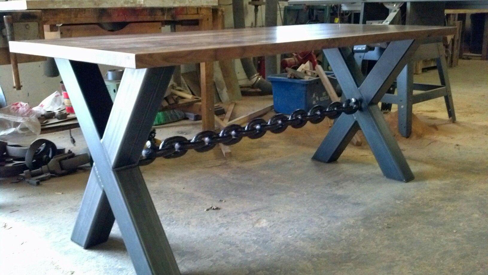 Custom Computer Desk Metal Legs With A Welded Chain Welded