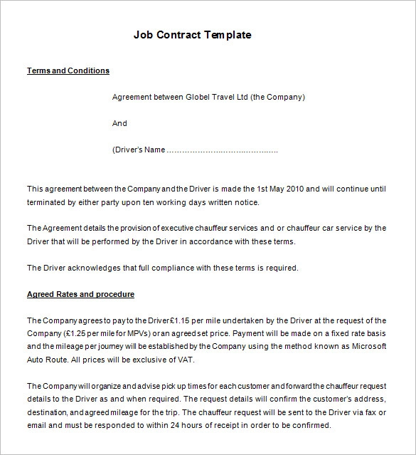 14 Free Employment Agreement Templates Professional Formats In Word Pdf Contract Template Contract Templates