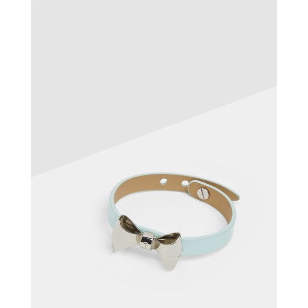 Ted Baker Leather bow bracelet (425 EGP) ❤ liked on Polyvore featuring jewelry, bracelets, mint, mint jewelry, bow jewelry, metallic jewelry, leather bangles and ted baker bangle