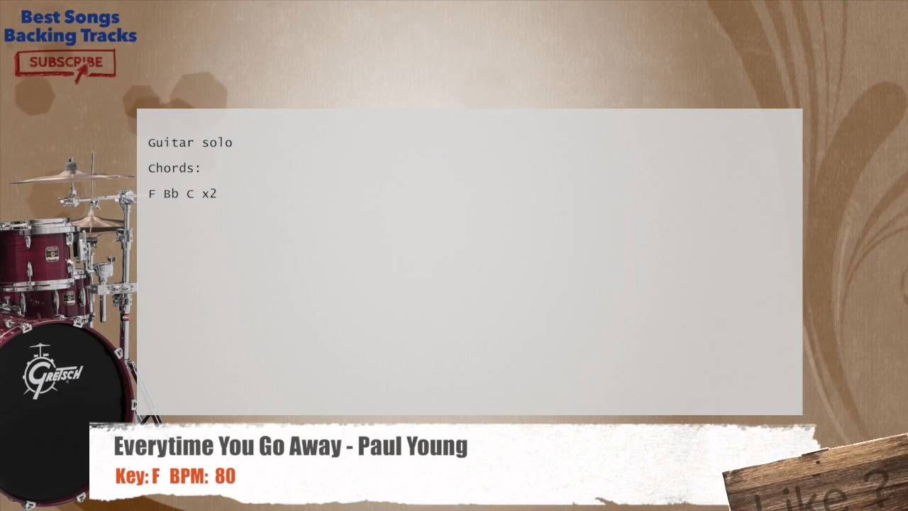 Everytime You Go Away Paul Young Drums Backing Track With Chords