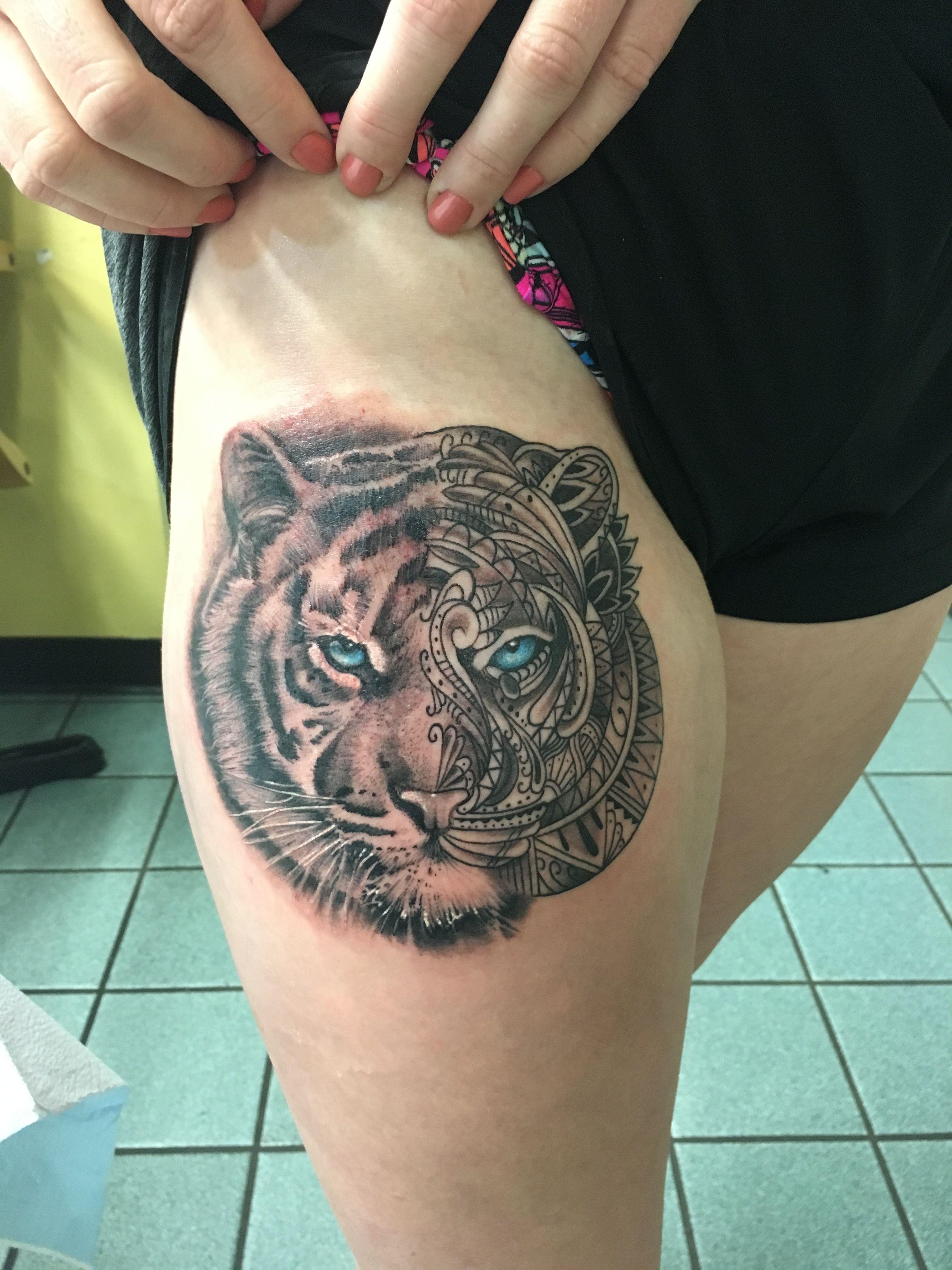Tiger Tattoo Mandala Tigertattoo Women Thigh Tiger Tattoo Tattoos Tiger Face Tattoo