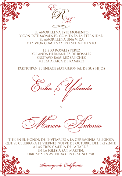 Like this one dont like the monogram at the top dont like the wedding invitation wording in spanish template filmwisefo Image collections