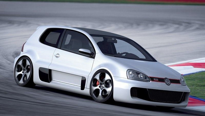 Vehicle White Tuned Lowered VW GTI