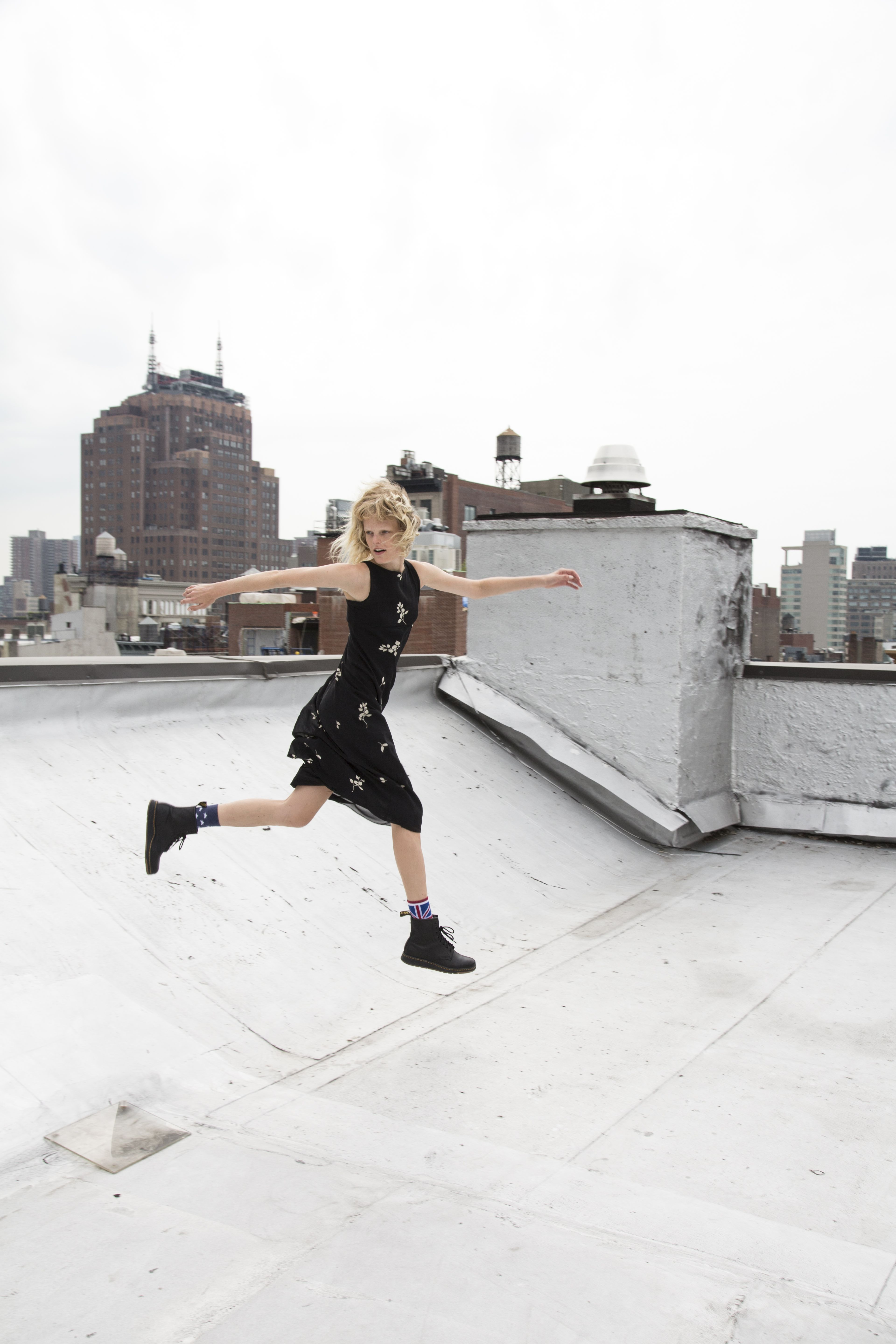 The Newton boot in black from the new #DMsLITE range. Worn by Hanne Gaby Odiele.