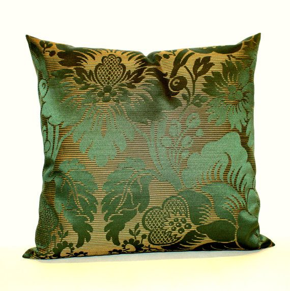 Green Pillow Cover Emerald Green Floral Upholstery Fabric Decorative Simple Jewel Tone Decorative Pillows