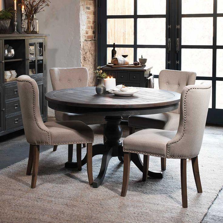 Runder Esstisch mit Stühlen in Beige Dunkelgrau Landhaus