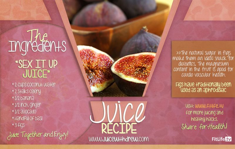 The Sex It Up Juice.  This juice is great for couples, especially for those who wants to spice up intimate moments.. Try this now! #coconut #celery #banana #ginger #avocado #basil #figs