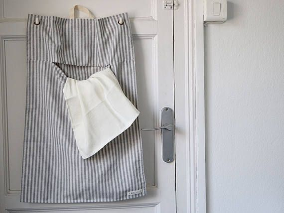 Laundry Bag Stripes Cotton Laundry Bag For Hanging Behind The