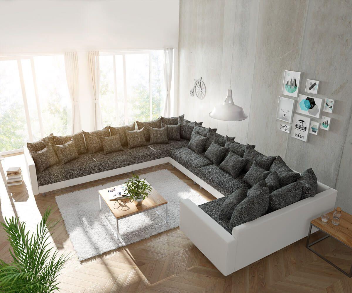 Delife Wohnlandschaft Clovis Xxl Weiss Schwarz Mit Armlehne Ottomane Links Design Wohnlandschaften Couch Loft Modulsofa Modular 10717 Sofa Design House Furniture Design Furniture Design Living Room