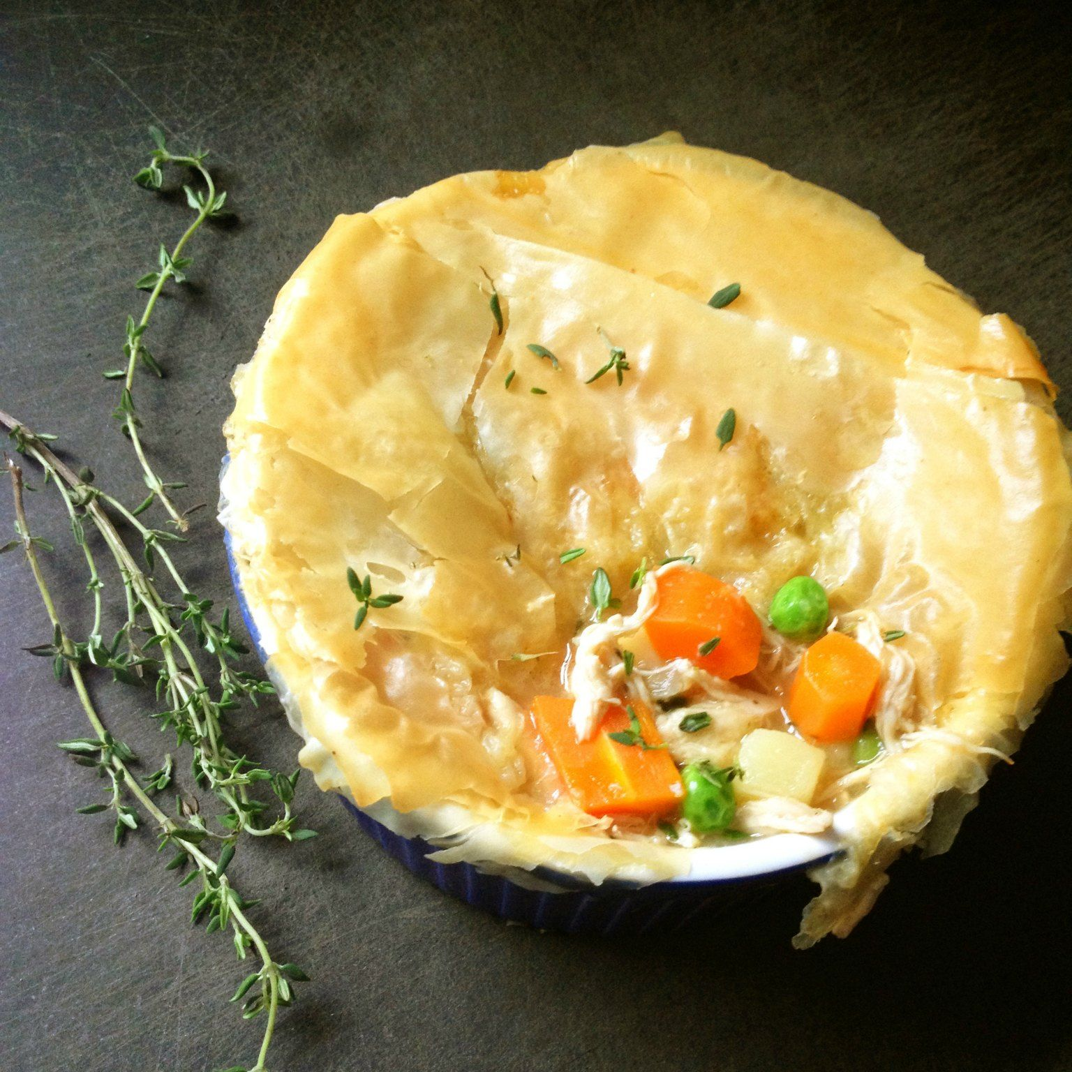 Healthy Chicken Pot Pie with Phyllo Crust Recipe Food