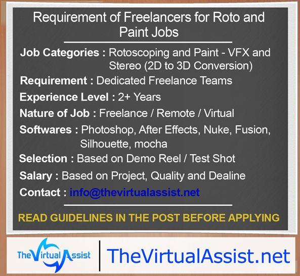Freelancers Required For Vfx And Stereo Roto And Paint Freelancing Jobs Job Freelance