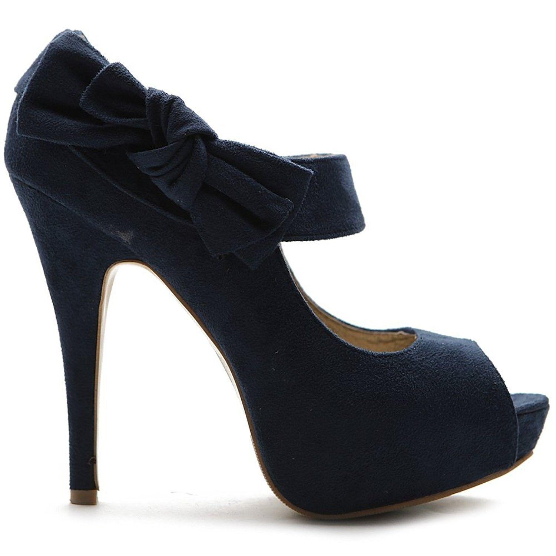 d58b86b3556d6 Women's Shoes, Pumps, Women's Shoe Platform Open Toe High Heel Ribbon Accent  Multi Color Pump - Navy - CS11BOUSKVD #Shoes #Pumps #fashion #women #style