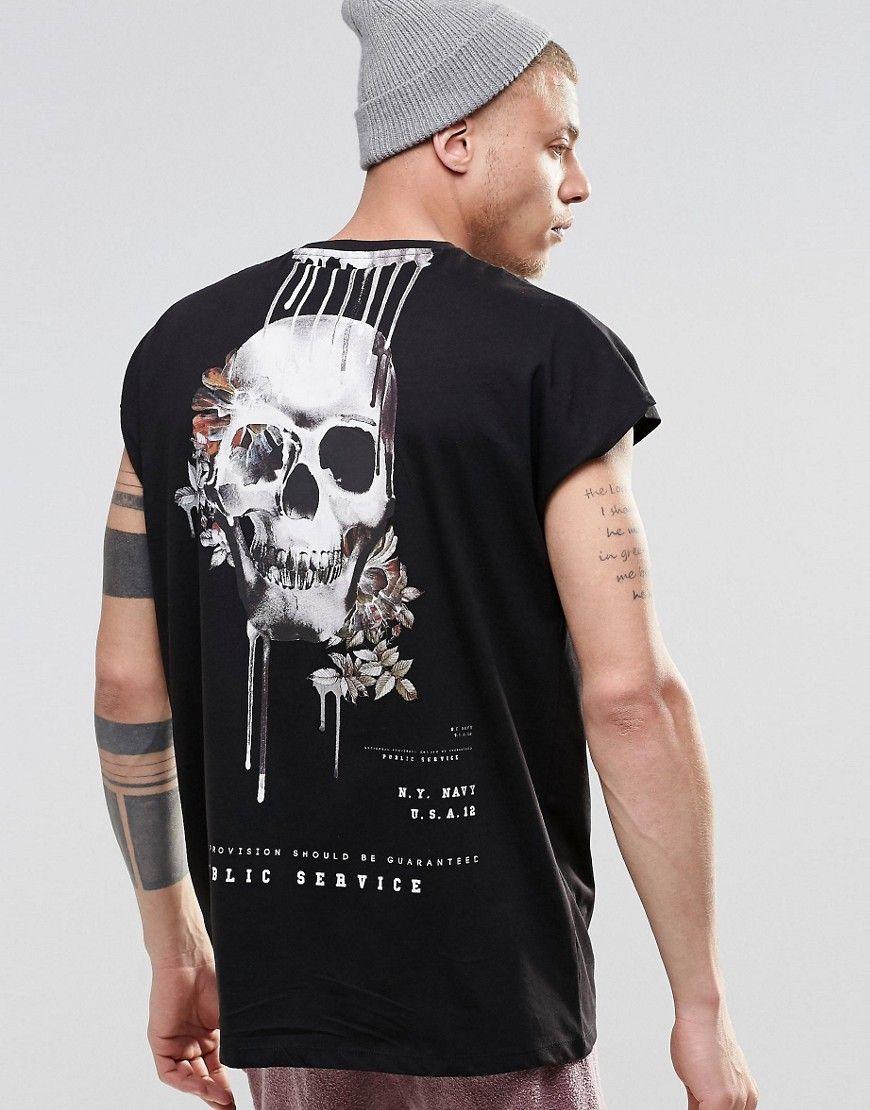 Imagen 1 de Camiseta sin mangas extragrande en negro con estampado de  calavera de ASOS
