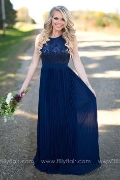 Stunning Long Navy Bridesmaid Dress