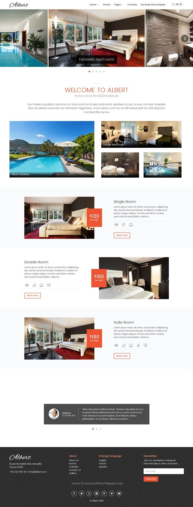 Albert is an Bootstrap HTML5 site #template, suitable for #hotels ...