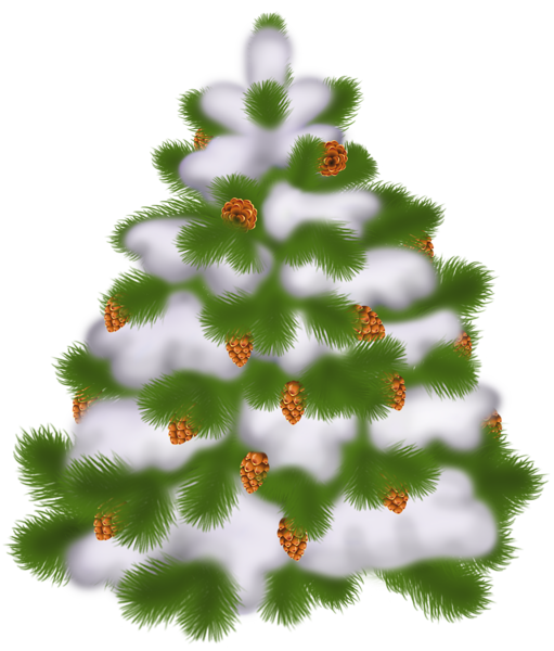 Transparent Christmas Tree With Cones Christmas Clipart Snowy Trees Christmas