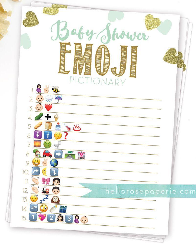 Baby Shower Emoji Answer Key : shower, emoji, answer, Shower, Emoji, Pictionary, Answers, Twins, Shower,, Printable, Games