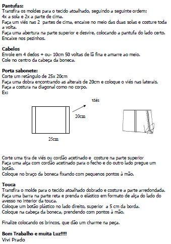 Moldes Para Artesanato em Tecido: Boneca porta papel higiênico e sabonete