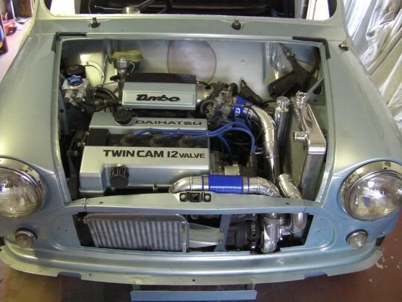 mini with 3 cyltwin cam 16valve turbo Daihatsu engine looks the