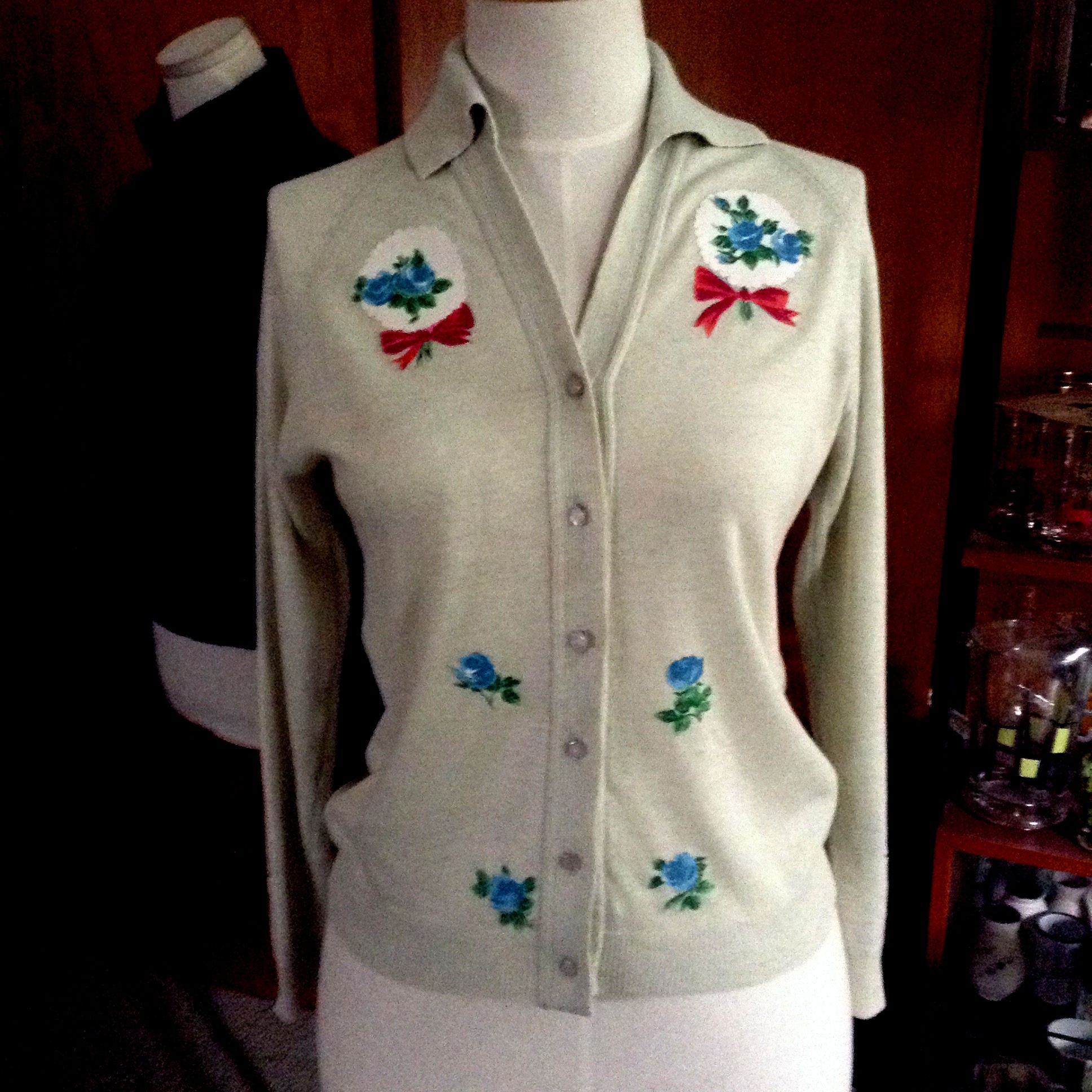 Penelope Tree - vintage cardy, appliques from pretty vintage fabric.