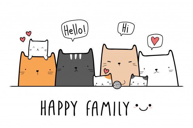 Nette Katzenkatzchenfamilien Karikatur Gekritzelfahne Cartoon