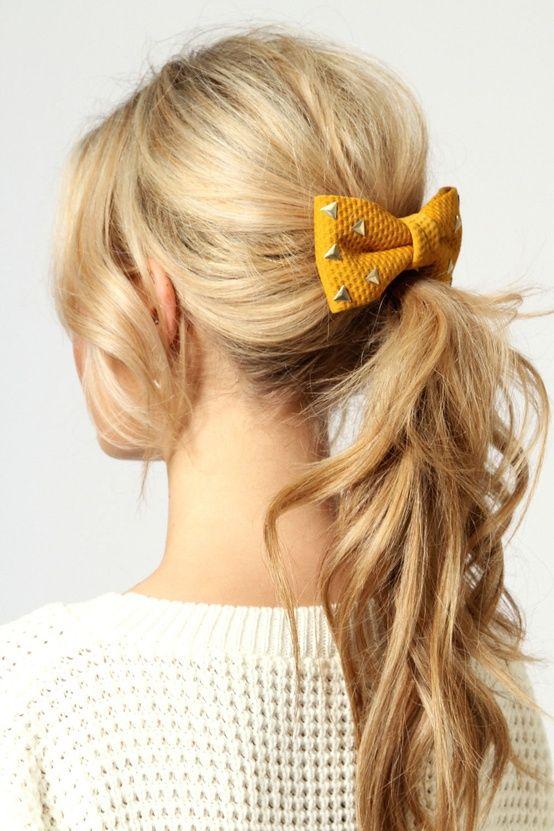 Sencillo y bonito peinados con lazos Fotos de ideas de color de pelo - lazo con tachuelas | Peinados con lazos, Peinados con ...