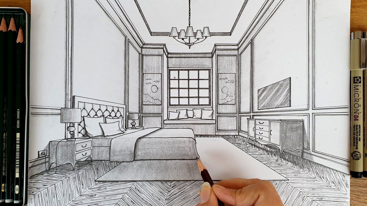 Drawing A Bedroom In One Point Perspective Timelapse How To Draw A Bedroom In One Point Perspectiv In 2020 One Point Perspective Perspective Room Perspective Drawing