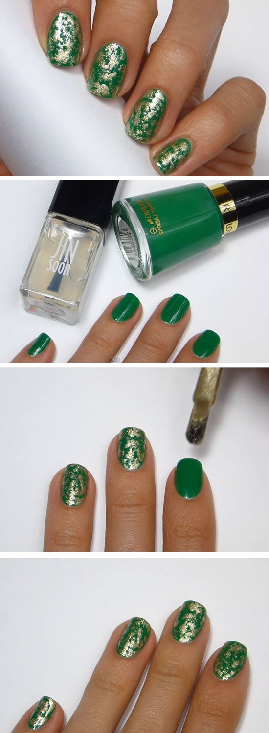 Easy Gold Leaf Nail Art  Click Pic for  Easy St Patricks Day Nail