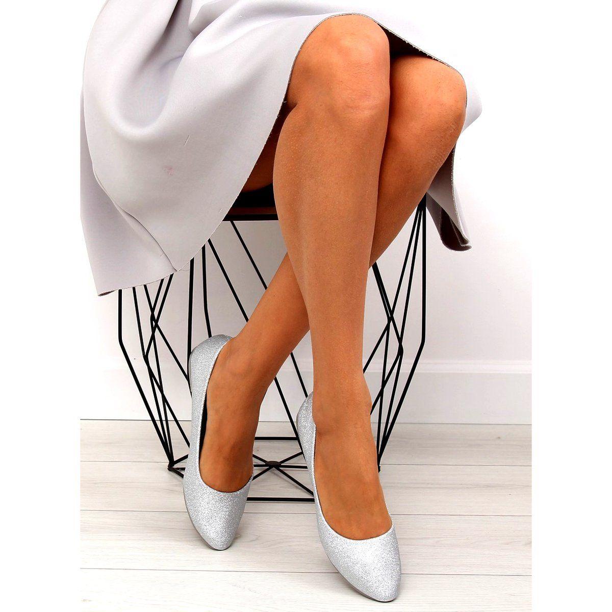 Baleriny Brokatowe Srebrne Cc200p Silver Szare Stiletto Heels Heels Fashion