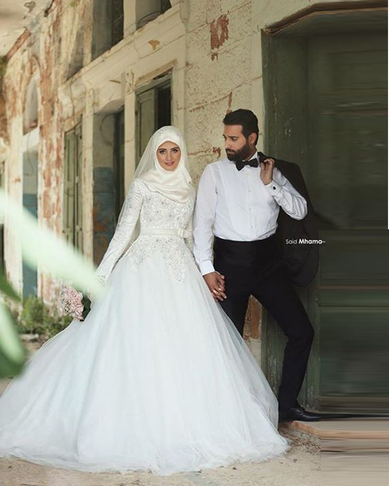 Vestido Noiva Muslim Wedding Dress Hijab 2016 Long Sleeve Arabic Wedding Gown Satin Ball Gown WEdding Dresses Robe De Mariage