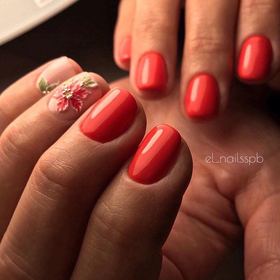 Gentle Mature with a Red Nails