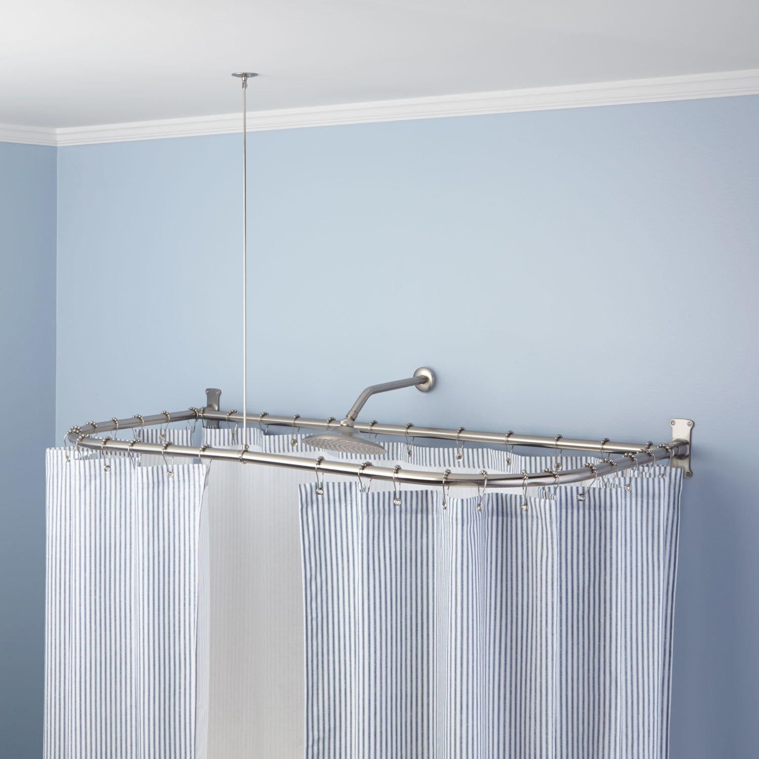 D Shaped Solid Brass Shower Curtain Rod In 60 L X 30 W In Oil