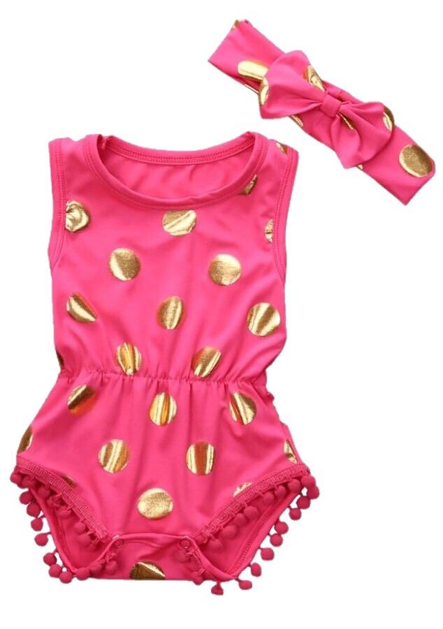 1b76aa1ec17 Metallic Dot Romper   Bow Set