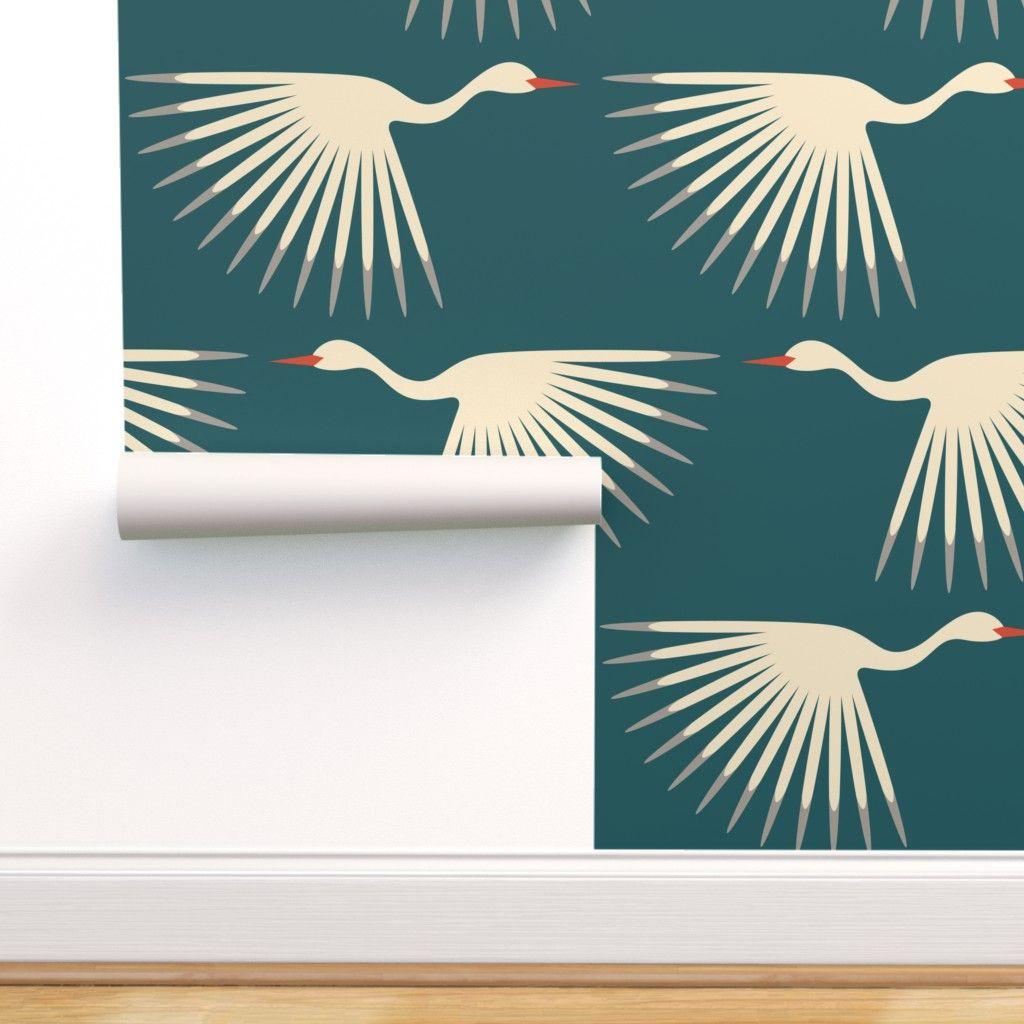 Art Deco Cranes Spoonflower Art Deco Wallpaper Peel And Stick Wallpaper Wallpaper